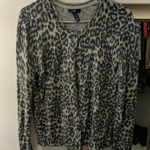 GAP gray leopard cardigan
